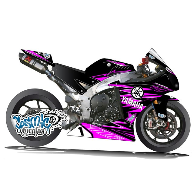 Custom made to order graphic kit for 2009 2014 yamaha r1 for Deco noir et rose