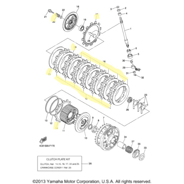 yamaha clutch kit for 2007 to 2008 yzf