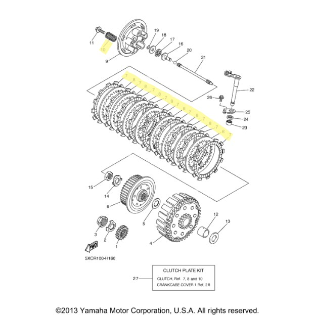 oem yamaha clutch kit for 2009 to 2012 yz250f   motorcycle