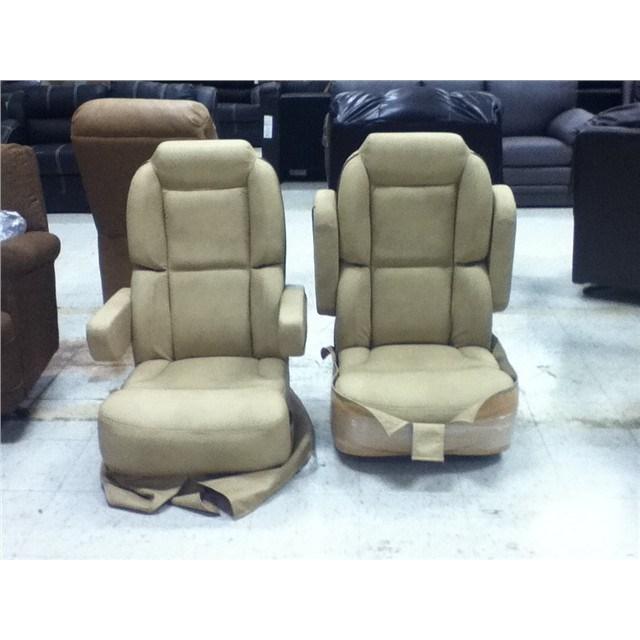 Pair Of Ultra Leather Captains Chairs Rv Boat Parts