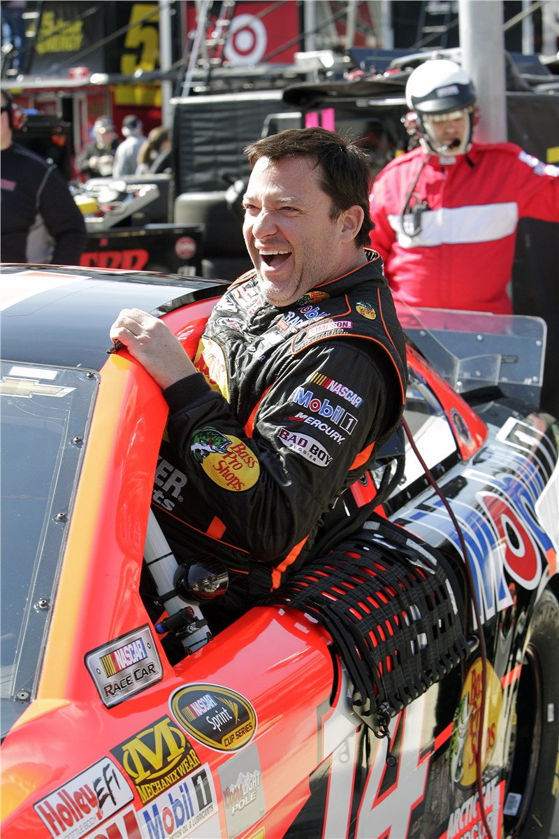 Tony Stewart is jocular as he mounts his stead